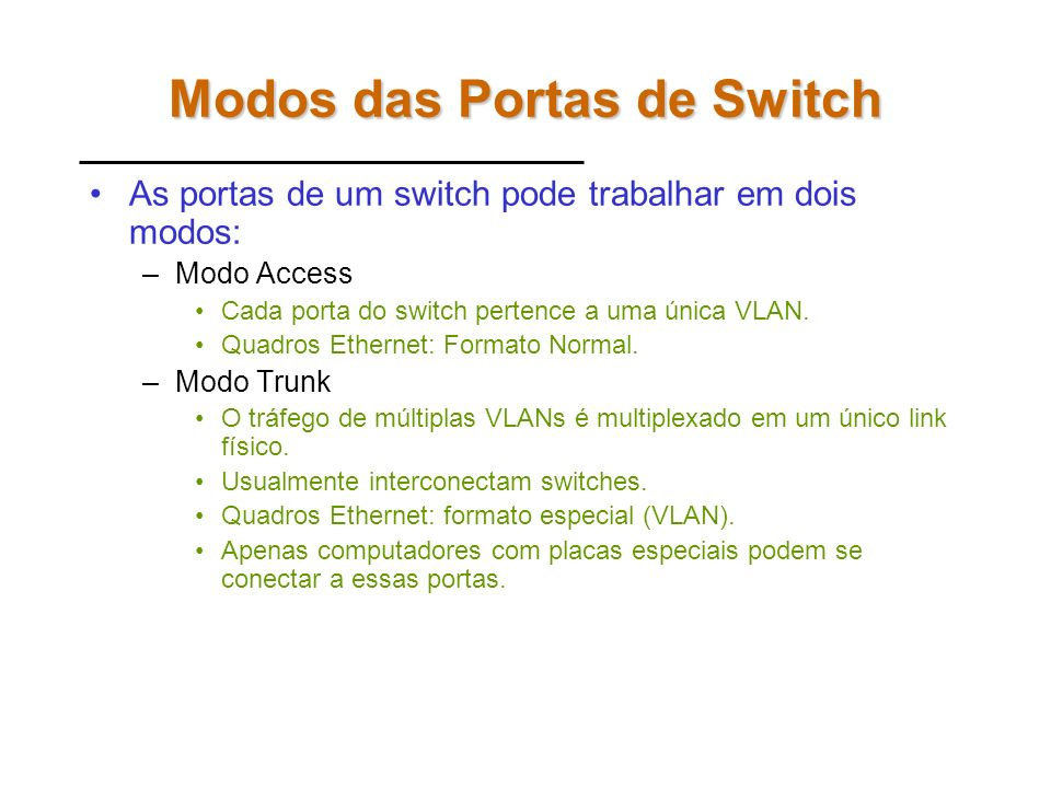 Modos das Portas de Switch