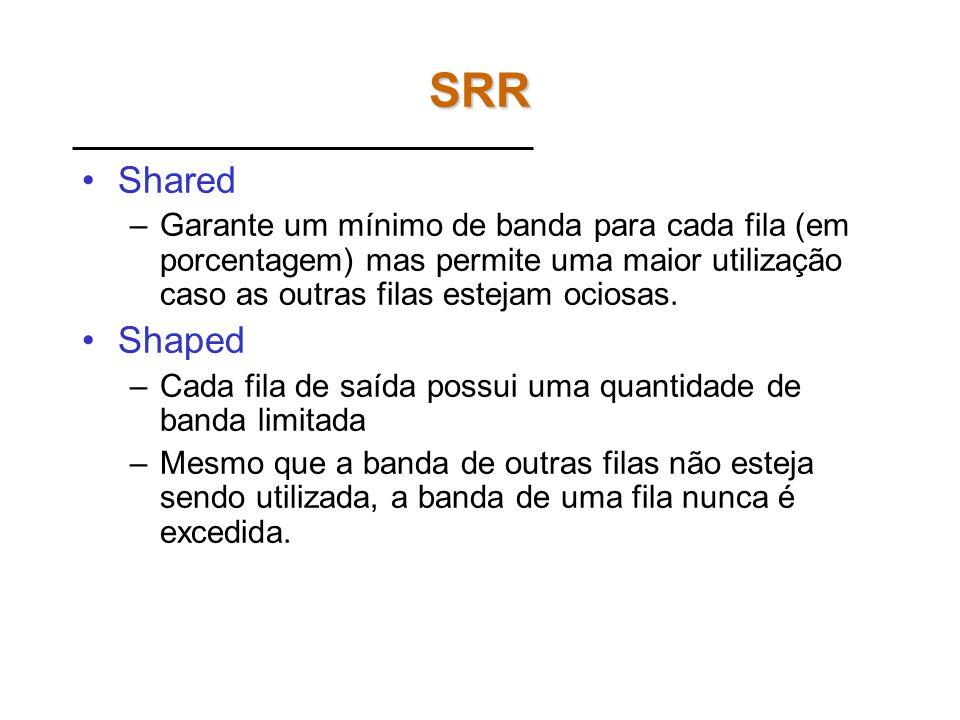 SRR Shared. Garante um mínimo de banda para cada fila (em porcentagem) mas permite uma maior utilização caso as outras filas estejam ociosas.