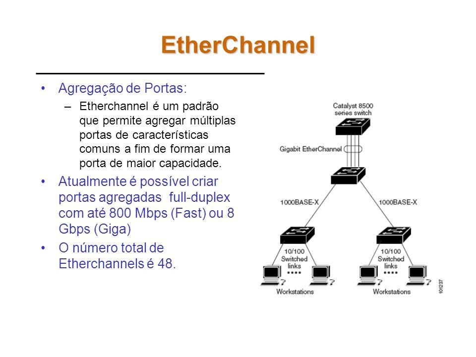 EtherChannel Agregação de Portas: