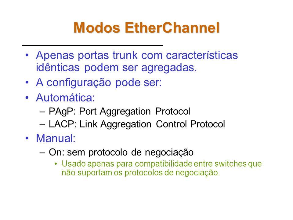 Modos EtherChannel Apenas portas trunk com características idênticas podem ser agregadas. A configuração pode ser: