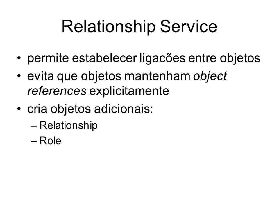 Relationship Service permite estabelecer ligacões entre objetos