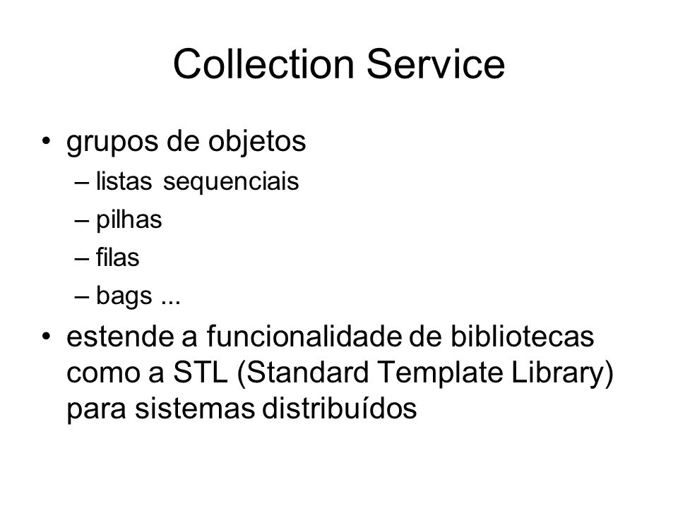 Collection Service grupos de objetos