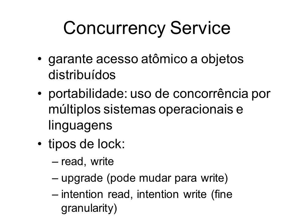 Concurrency Service garante acesso atômico a objetos distribuídos