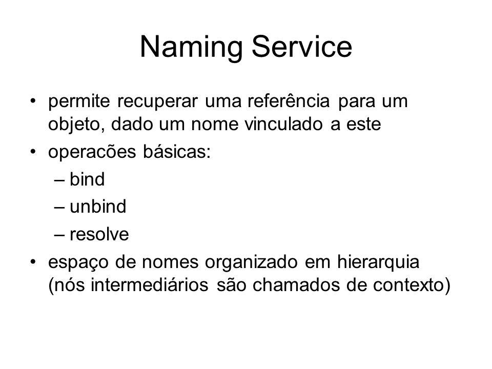 Naming Service permite recuperar uma referência para um objeto, dado um nome vinculado a este. operacões básicas: