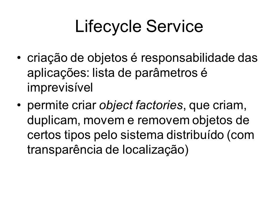 Lifecycle Service criação de objetos é responsabilidade das aplicações: lista de parâmetros é imprevisível.