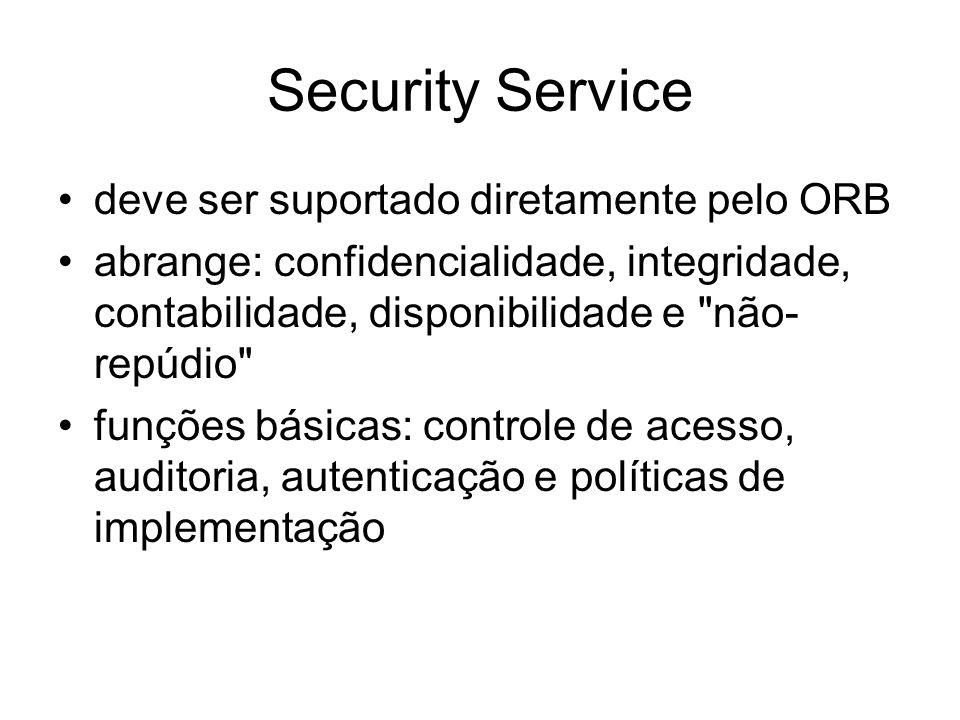 Security Service deve ser suportado diretamente pelo ORB