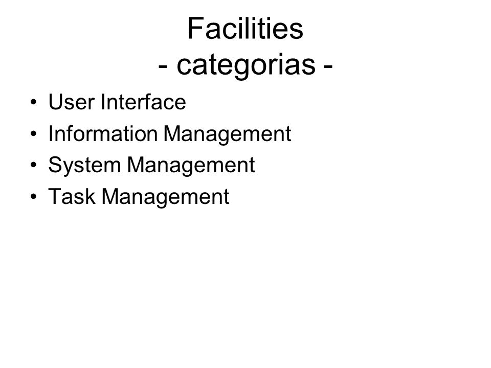Facilities - categorias -
