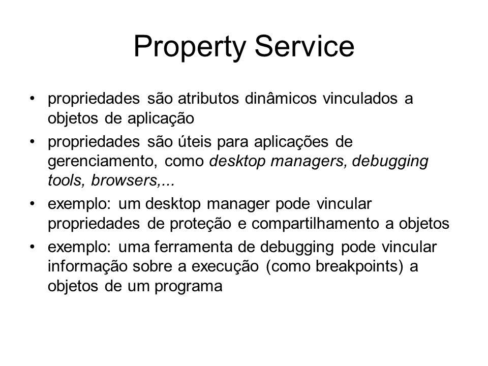 Property Service propriedades são atributos dinâmicos vinculados a objetos de aplicação.