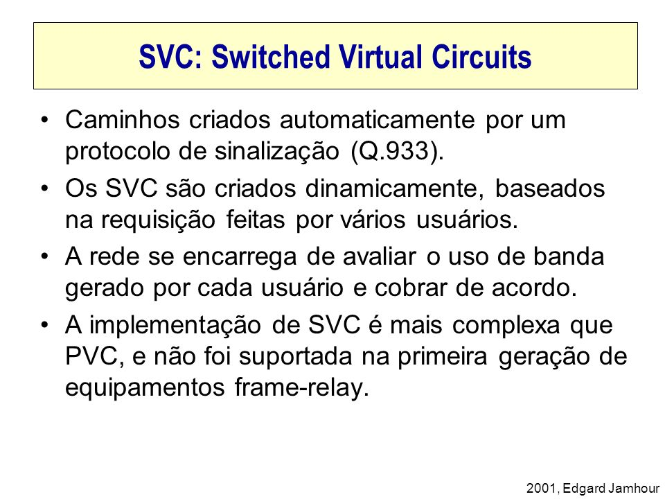 SVC: Switched Virtual Circuits
