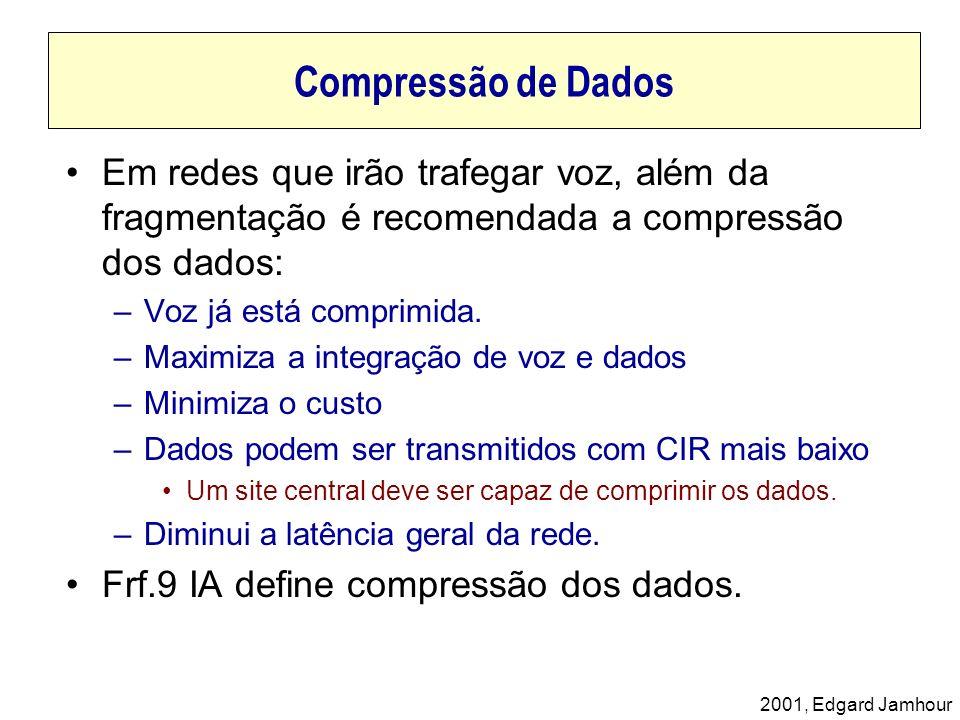 Compressão de Dados Em redes que irão trafegar voz, além da fragmentação é recomendada a compressão dos dados: