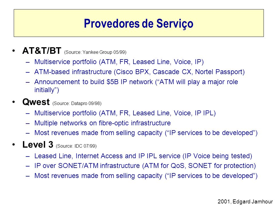 Provedores de Serviço AT&T/BT (Source: Yankee Group 05/99)