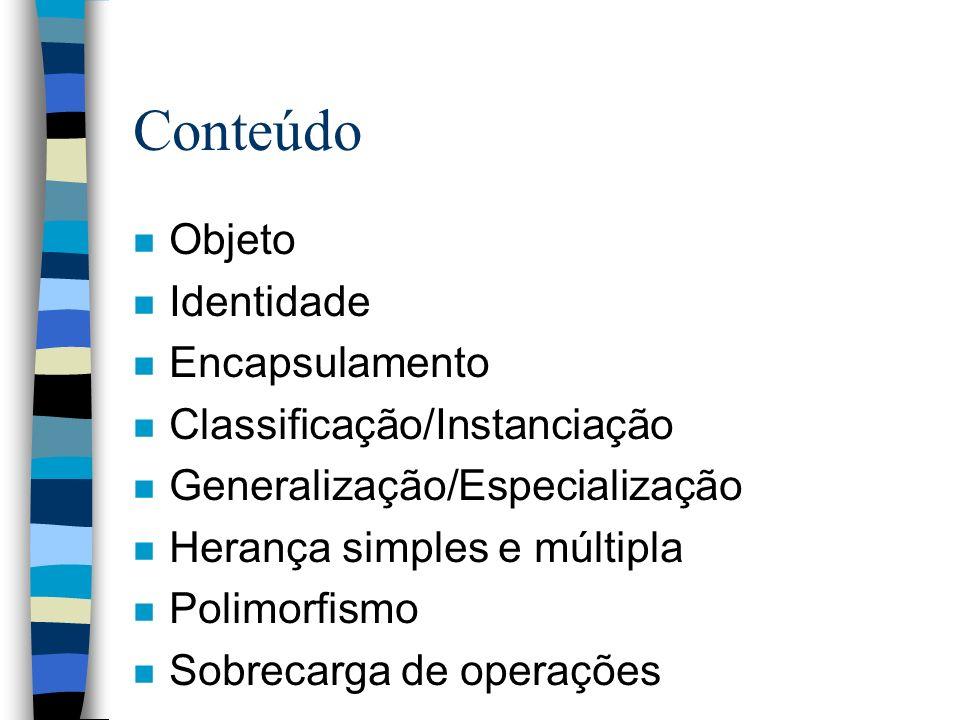Conteúdo Objeto Identidade Encapsulamento Classificação/Instanciação