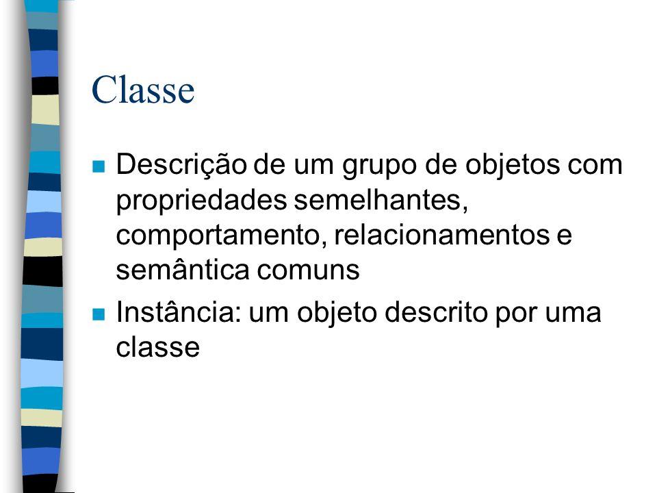Classe Descrição de um grupo de objetos com propriedades semelhantes, comportamento, relacionamentos e semântica comuns.