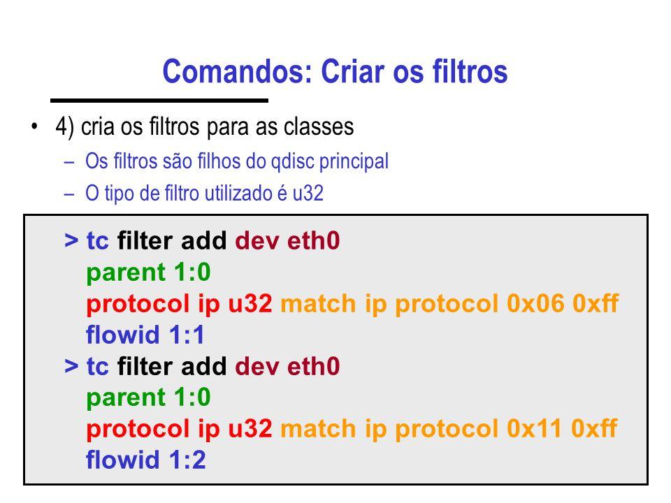 Comandos: Criar os filtros