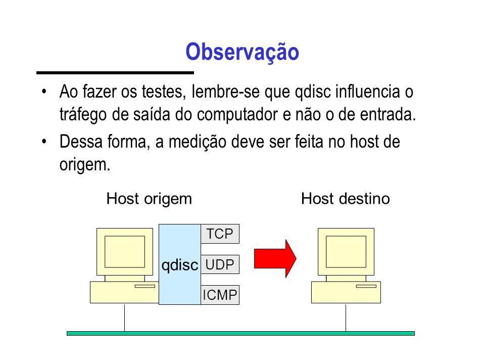 Observação Ao fazer os testes, lembre-se que qdisc influencia o tráfego de saída do computador e não o de entrada.