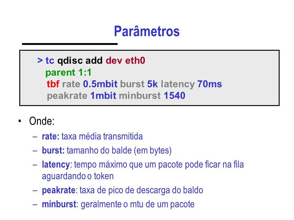 Parâmetros Onde: > tc qdisc add dev eth0 parent 1:1