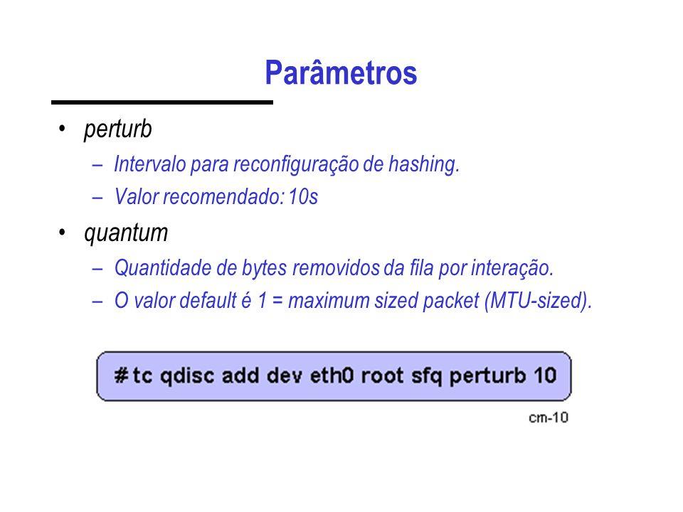 Parâmetros perturb quantum Intervalo para reconfiguração de hashing.