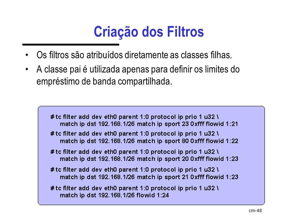 Criação dos Filtros Os filtros são atribuídos diretamente as classes filhas.
