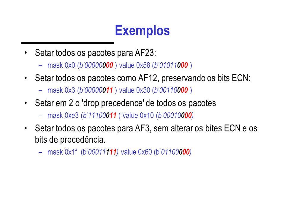 Exemplos Setar todos os pacotes para AF23:
