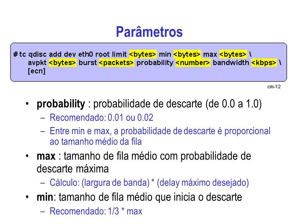 Parâmetros probability : probabilidade de descarte (de 0.0 a 1.0)