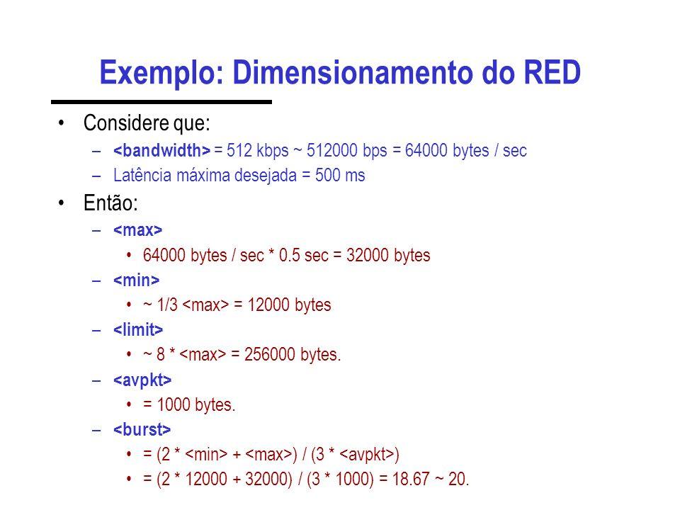 Exemplo: Dimensionamento do RED