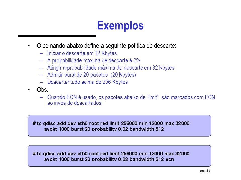 Exemplos O comando abaixo define a seguinte política de descarte: Obs.