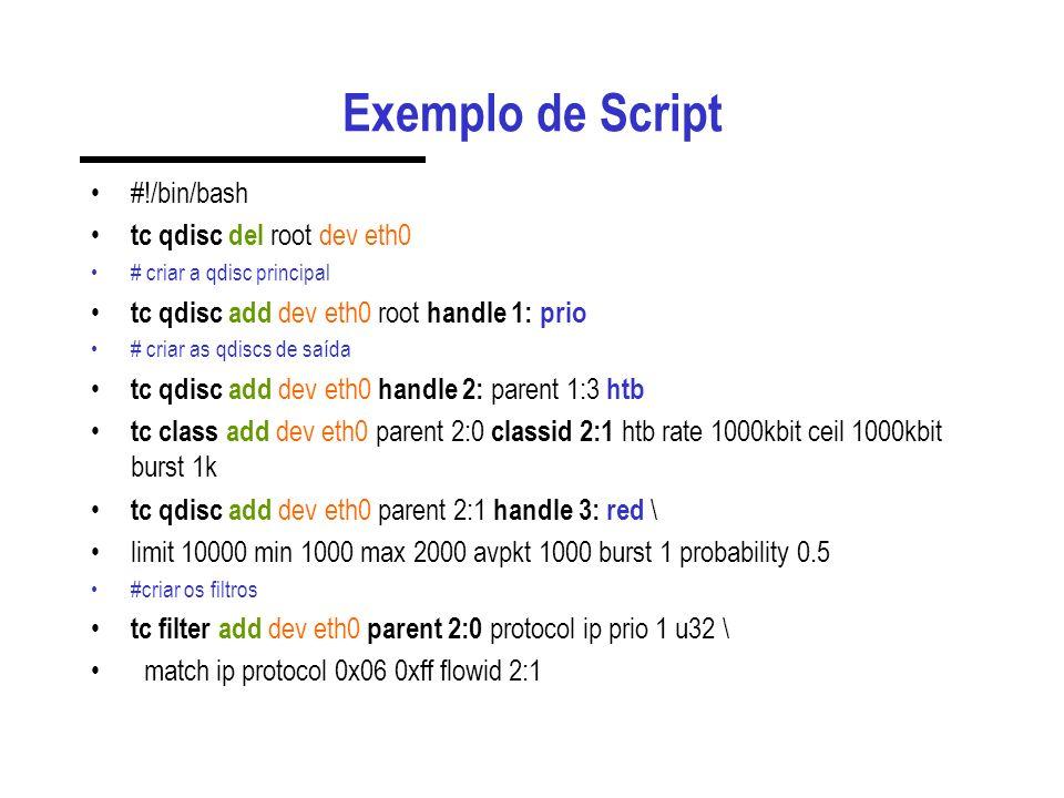 Exemplo de Script #!/bin/bash tc qdisc del root dev eth0