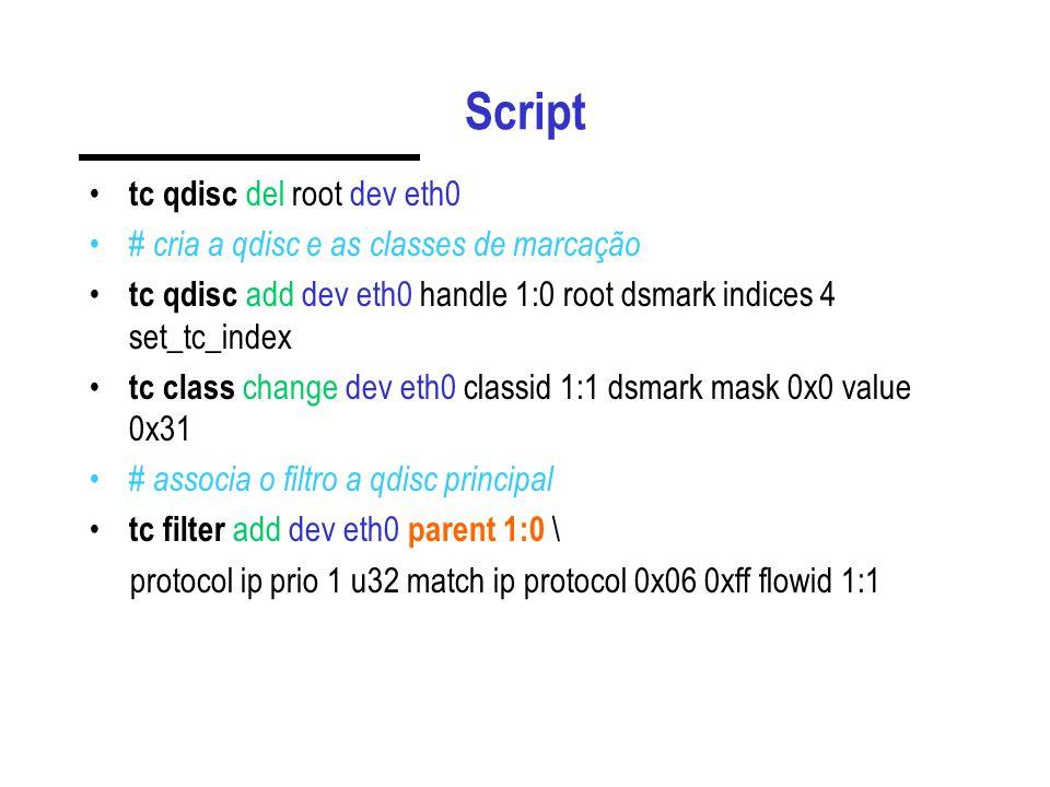 Script tc qdisc del root dev eth0