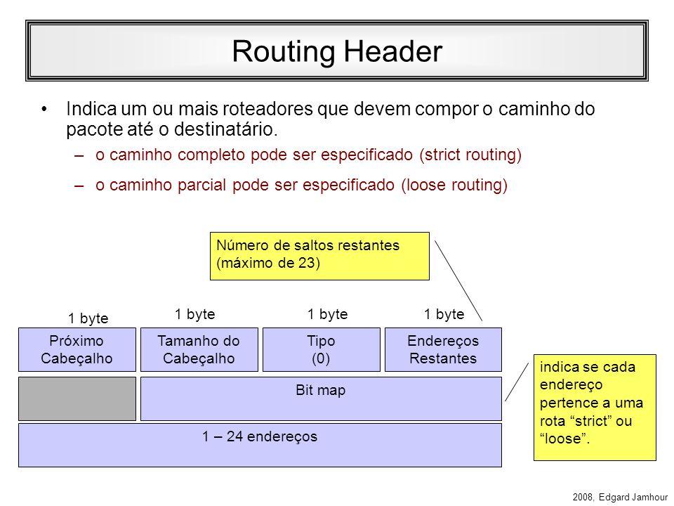 Routing Header Indica um ou mais roteadores que devem compor o caminho do pacote até o destinatário.