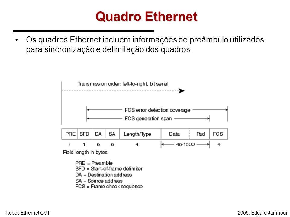 Quadro Ethernet Os quadros Ethernet incluem informações de preâmbulo utilizados para sincronização e delimitação dos quadros.