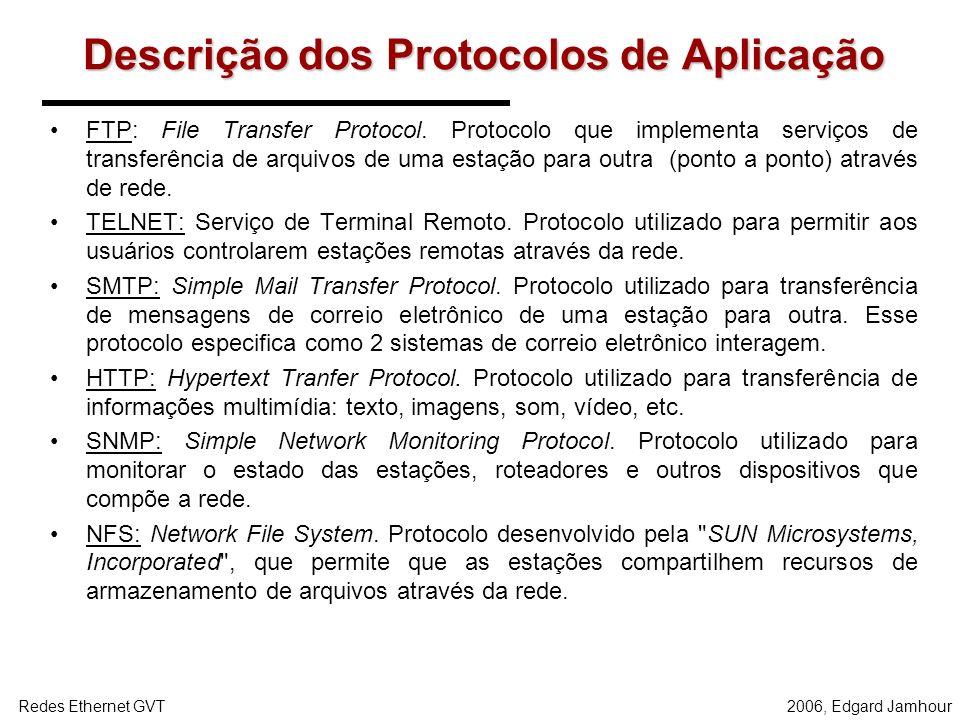Descrição dos Protocolos de Aplicação