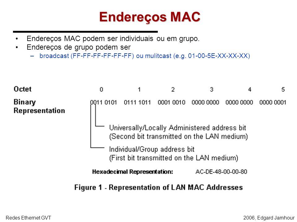 Endereços MAC Endereços MAC podem ser individuais ou em grupo.