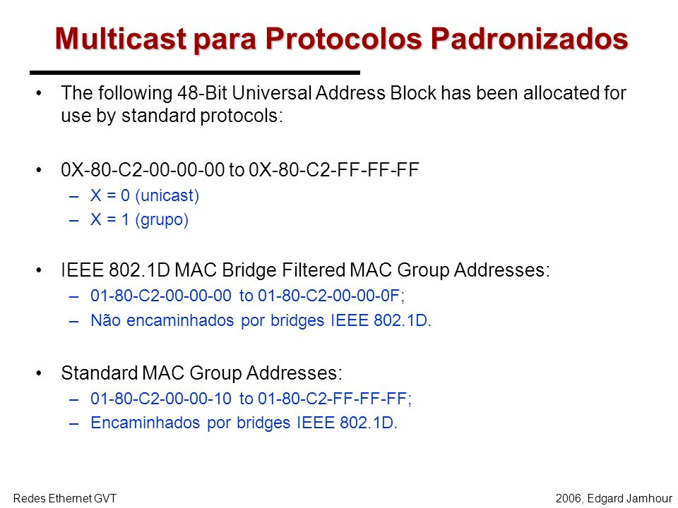 Multicast para Protocolos Padronizados