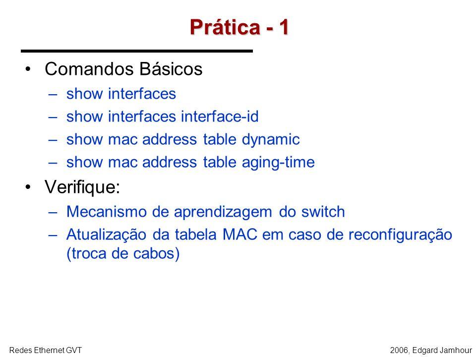 Prática - 1 Comandos Básicos Verifique: show interfaces
