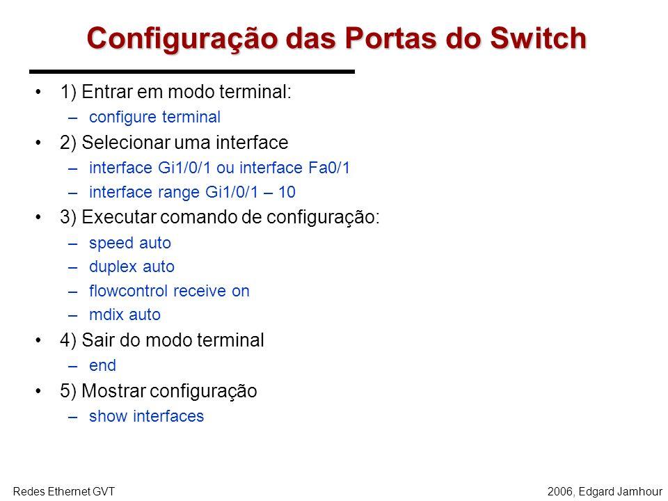 Configuração das Portas do Switch