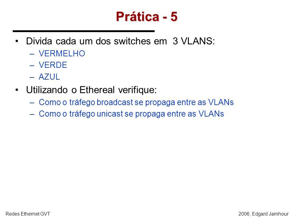 Prática - 5 Divida cada um dos switches em 3 VLANS: