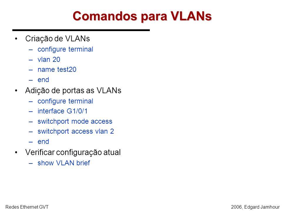 Comandos para VLANs Criação de VLANs Adição de portas as VLANs