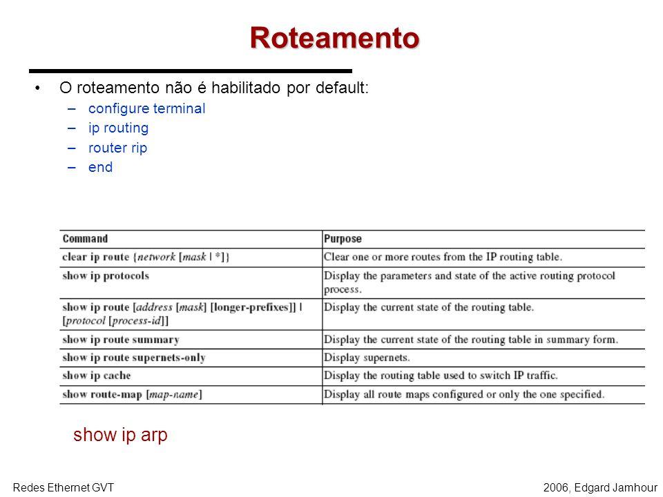 Roteamento show ip arp O roteamento não é habilitado por default: