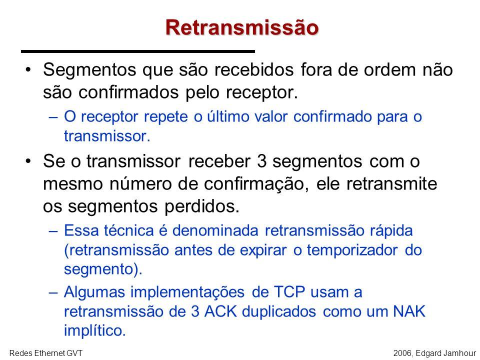 Retransmissão Segmentos que são recebidos fora de ordem não são confirmados pelo receptor.