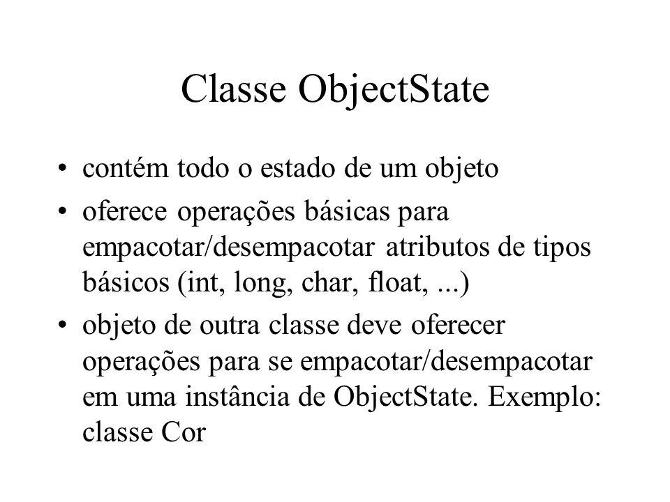 Classe ObjectState contém todo o estado de um objeto