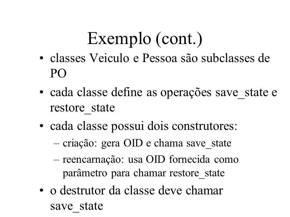 Exemplo (cont.) classes Veiculo e Pessoa são subclasses de PO