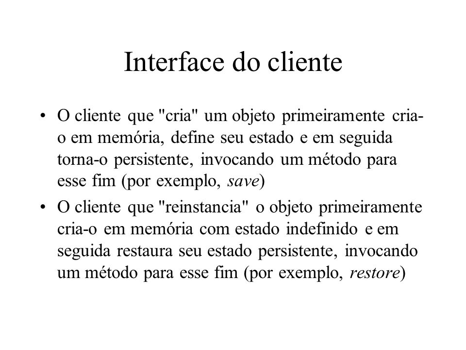 Interface do cliente
