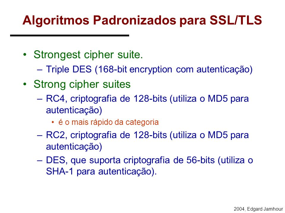 Algoritmos Padronizados para SSL/TLS