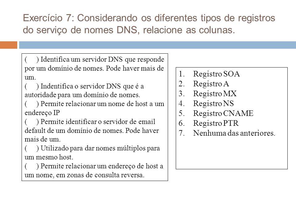 Exercício 7: Considerando os diferentes tipos de registros do serviço de nomes DNS, relacione as colunas.