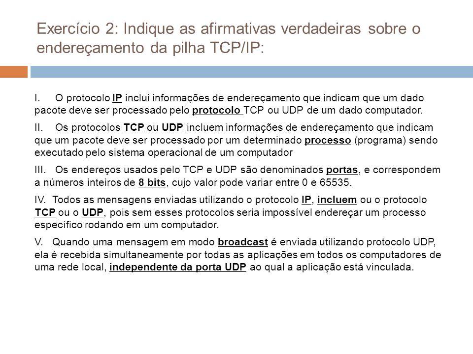 Exercício 2: Indique as afirmativas verdadeiras sobre o endereçamento da pilha TCP/IP: