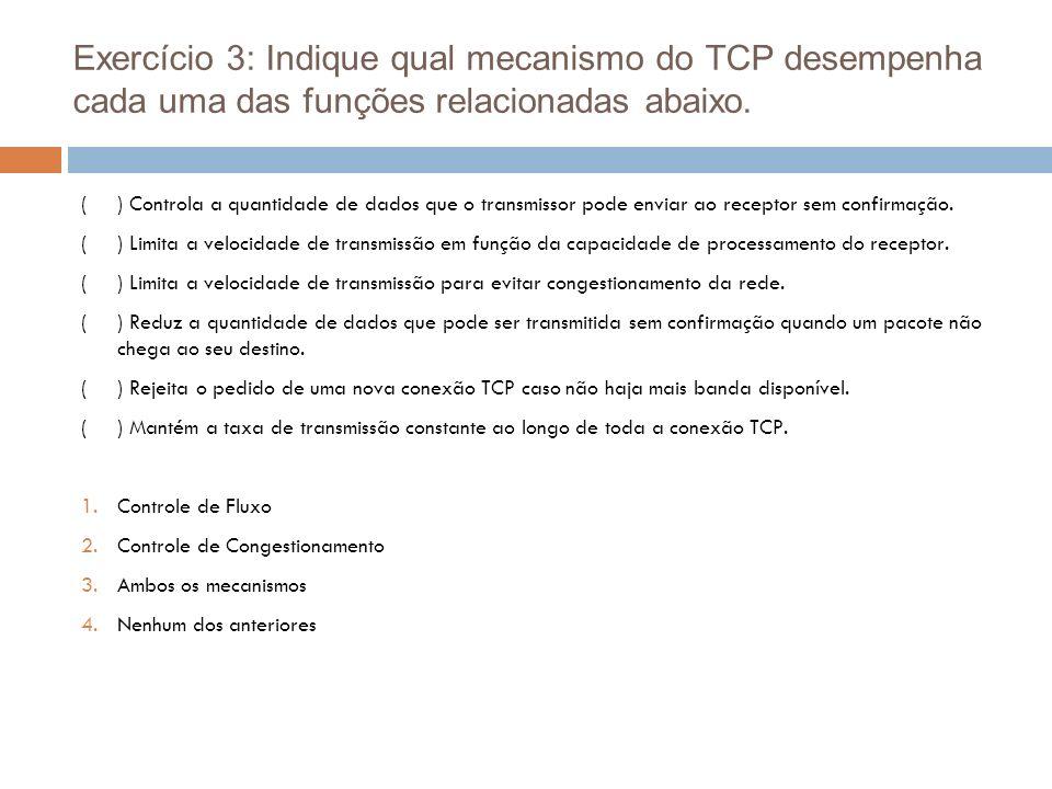 Exercício 3: Indique qual mecanismo do TCP desempenha cada uma das funções relacionadas abaixo.
