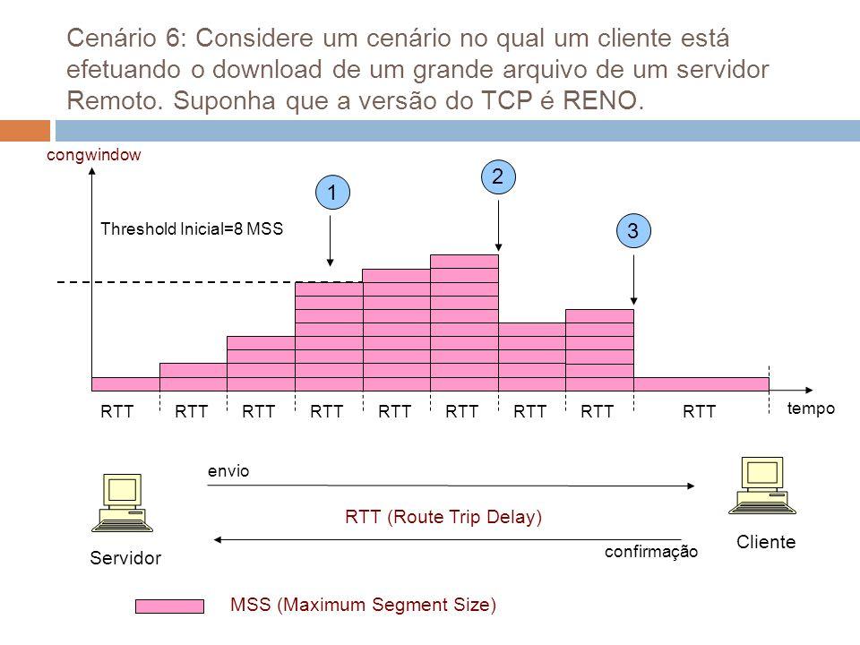 Cenário 6: Considere um cenário no qual um cliente está efetuando o download de um grande arquivo de um servidor Remoto. Suponha que a versão do TCP é RENO.