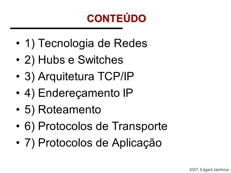 6) Protocolos de Transporte 7) Protocolos de Aplicação