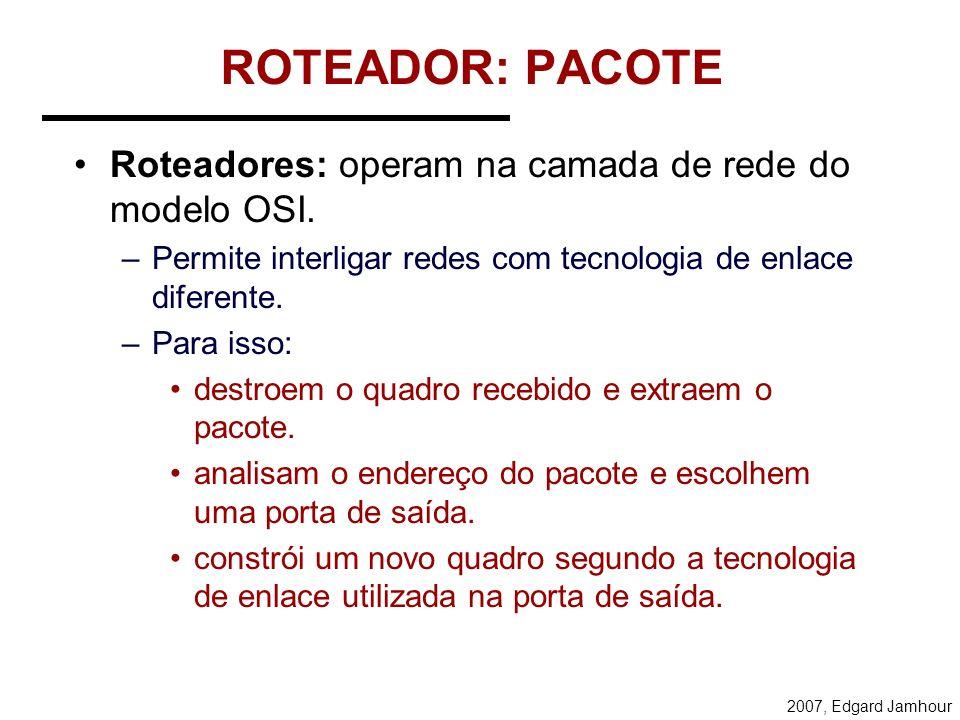 ROTEADOR: PACOTE Roteadores: operam na camada de rede do modelo OSI.
