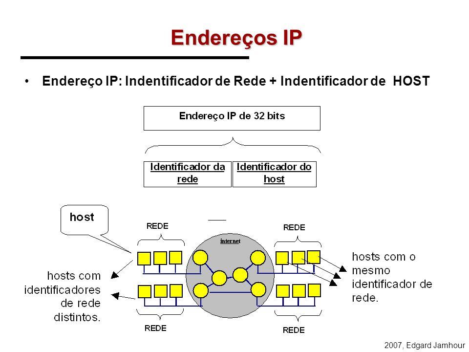 Endereços IP Endereço IP: Indentificador de Rede + Indentificador de HOST